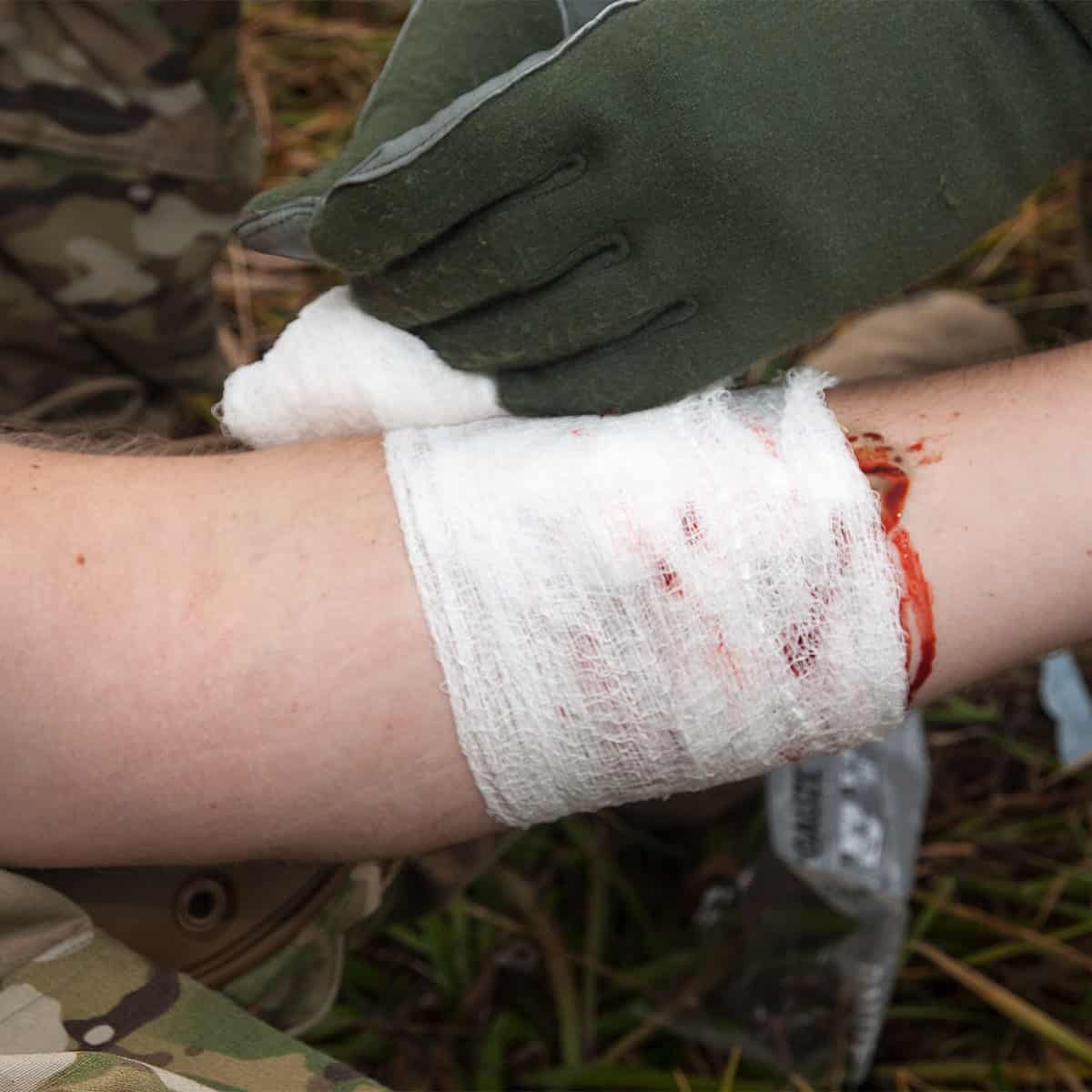 combat medical rolled gauze applied