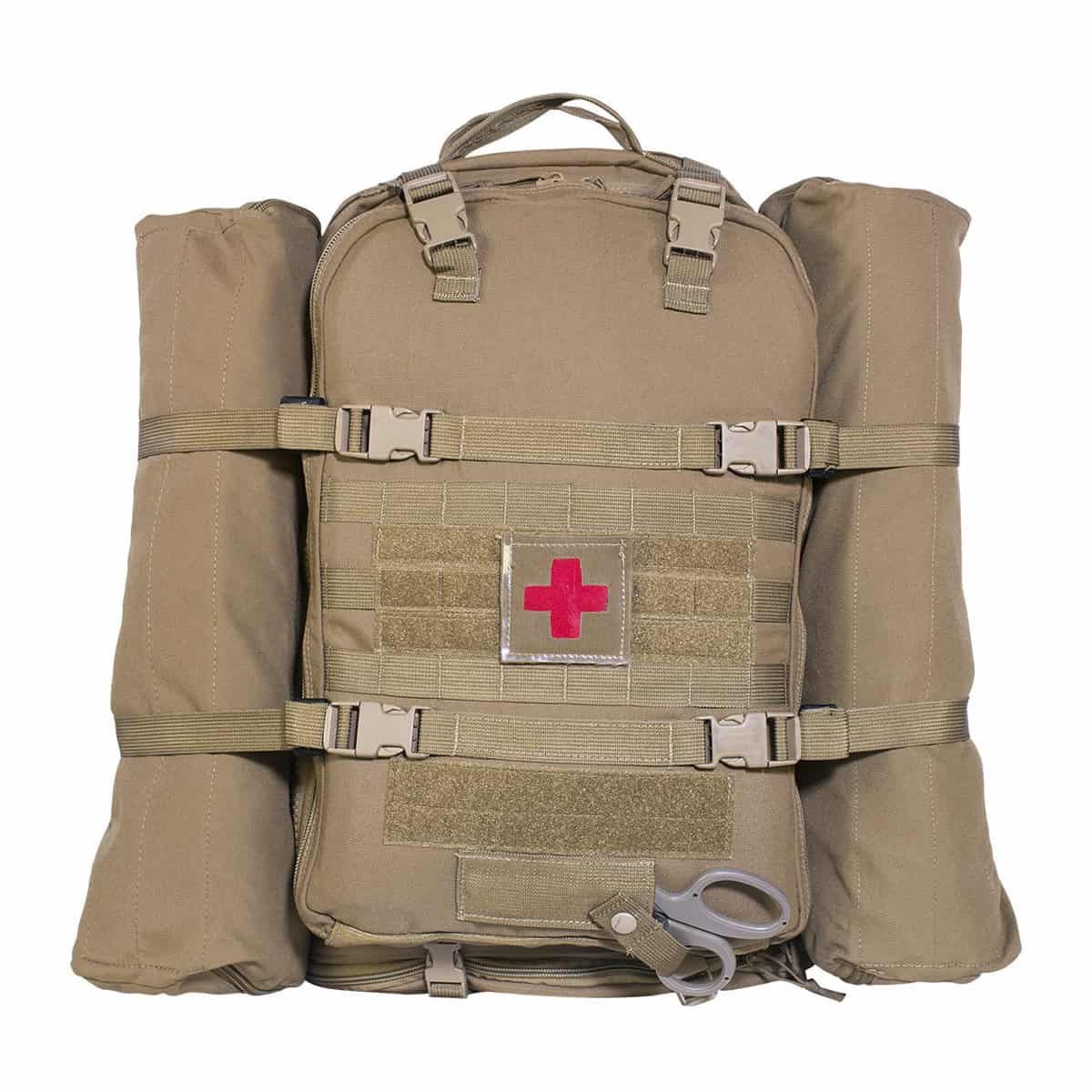 mojo multi mission aid bag bag front with side pouches closed coyote brown